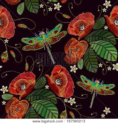 Embroidery poppies and dragonflies vector template. Classic embroidery pattern dragonflies and flowers peonies. Fashionable template for design of clothes