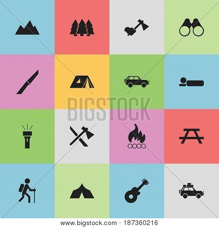 Set Of 16 Editable Trip Icons. Includes Symbols Such As Blaze, Lantern, Pine And More. Can Be Used For Web, Mobile, UI And Infographic Design.