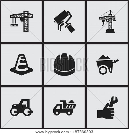 Set Of 9 Editable Construction Icons. Includes Symbols Such As Camion , Hardhat , Hands. Can Be Used For Web, Mobile, UI And Infographic Design.