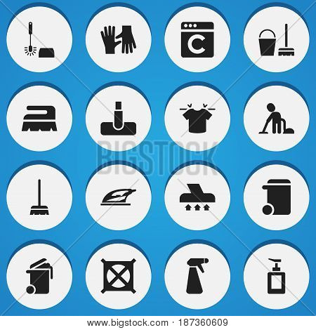 Set Of 16 Editable Dry-Cleaning Icons. Includes Symbols Such As Appliance, Cleaning Kit, No Laundry And More. Can Be Used For Web, Mobile, UI And Infographic Design.