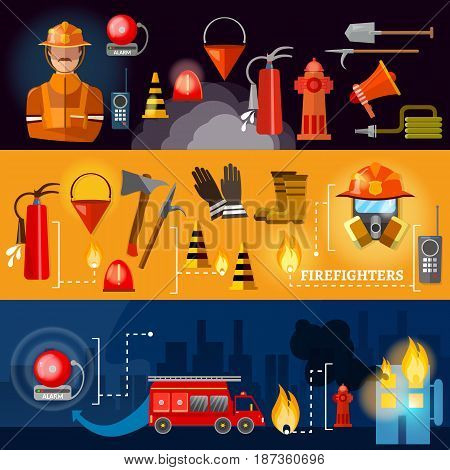 Professional firefighters banners fire safety equipment fireman vector
