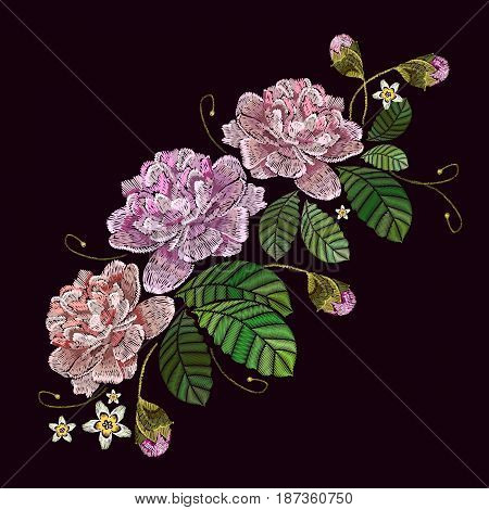 Beautiful peonies embroidery. Classical embroidery pink peonies on black background. Fashionable template for design of clothes