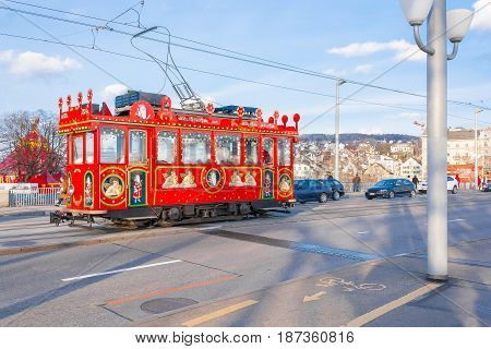 photo of zurich christmas retro tram on the street