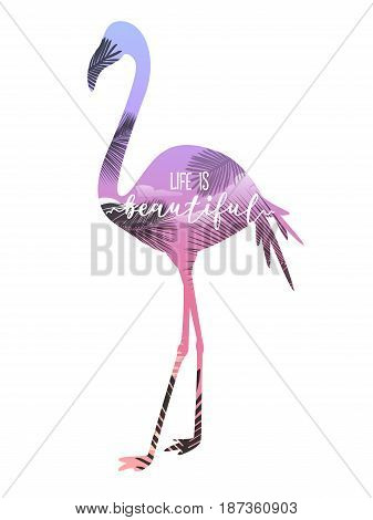 Pink flamingo with lettering. Vector illustration print.