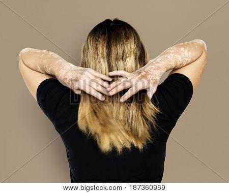 Caucasian woman portrait with back side