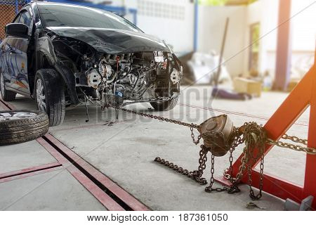 Auto repair on front after car accident
