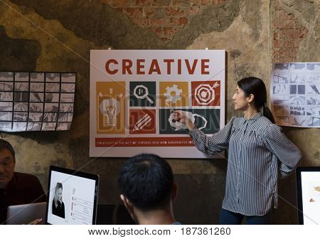 Woman doing a presentation about creative icons