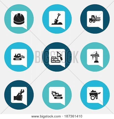 Set Of 9 Editable Construction Icons. Includes Symbols Such As Handcart , Oar , Hands. Can Be Used For Web, Mobile, UI And Infographic Design.