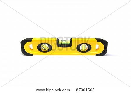Yellow building level balance ruler isolated on a white background.