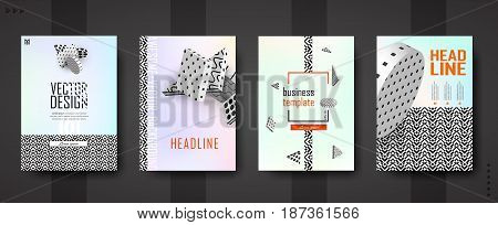 3d vector background. Flying isometric black and white figures on pastel background with contrasting texture. Template A4 for design posters, banners, flyers, covers, placards, magazines, books, web.