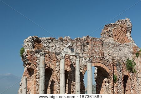 The ruins of the ancient greek theater of Taormina Sicily Italy