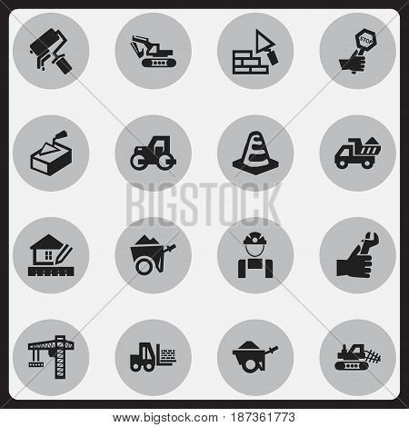 Set Of 16 Editable Construction Icons. Includes Symbols Such As Endurance , Home Scheduling, Handcart. Can Be Used For Web, Mobile, UI And Infographic Design.