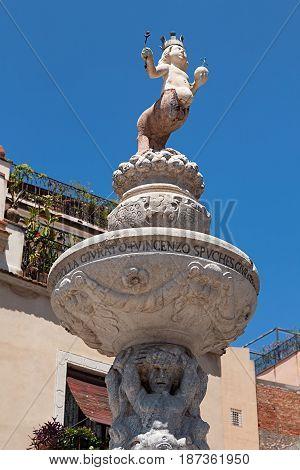 Baroque fountain in Piazza del Duomo in Taormina Sicily Italy