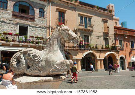 Baroque statue in Piazza del Duomo in Taormina Sicily Italy