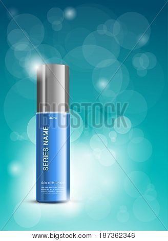 Skin moisturizer cosmetic ads template with blue realistic plastic bottle on light spots and transparent circles background. Vector illustration