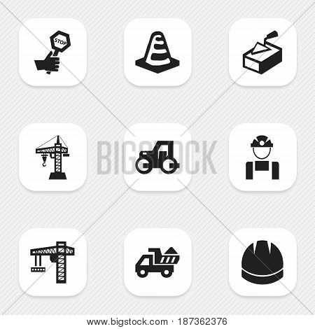 Set Of 9 Editable Building Icons. Includes Symbols Such As Lifting Equipment, Endurance, Caterpillar And More. Can Be Used For Web, Mobile, UI And Infographic Design.