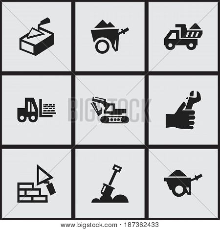 Set Of 9 Editable Construction Icons. Includes Symbols Such As Excavation Machine, Facing, Camion And More. Can Be Used For Web, Mobile, UI And Infographic Design.