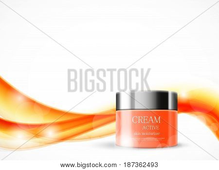 Body cream cosmetic ads template with orange realistic package on wavy soft dynamic shiny lines background. Vector illustration