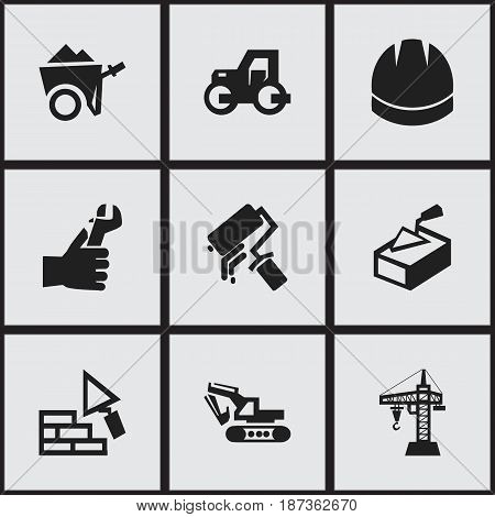 Set Of 9 Editable Building Icons. Includes Symbols Such As Elevator, Handcart , Scrub. Can Be Used For Web, Mobile, UI And Infographic Design.