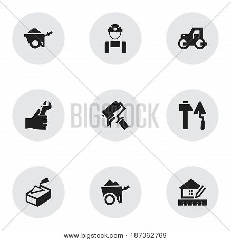 Set Of 9 Editable Structure Icons. Includes Symbols Such As Caterpillar, Scrub, Trolley And More. Can Be Used For Web, Mobile, UI And Infographic Design.
