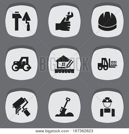 Set Of 9 Editable Construction Icons. Includes Symbols Such As Caterpillar, Home Scheduling, Scrub And More. Can Be Used For Web, Mobile, UI And Infographic Design.