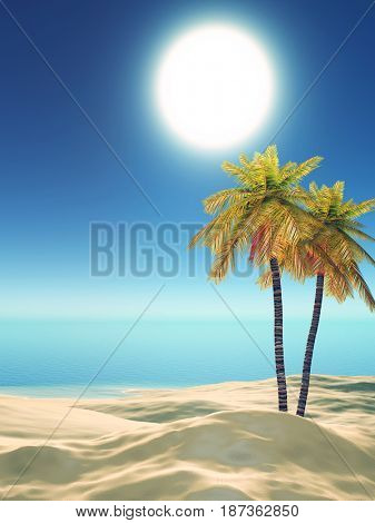 3D render of palm trees on a tropical beach
