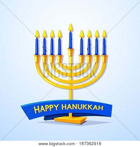 Happy Hanukkah, greeting card with menorah and ribbon, vector illustration