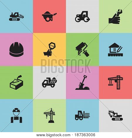 Set Of 16 Editable Construction Icons. Includes Symbols Such As Oar, Home Scheduling, Truck And More. Can Be Used For Web, Mobile, UI And Infographic Design.