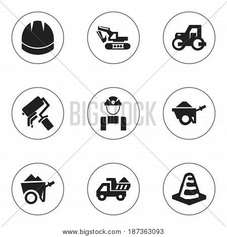 Set Of 9 Editable Structure Icons. Includes Symbols Such As Notice Object, Trolley, Scrub And More. Can Be Used For Web, Mobile, UI And Infographic Design.