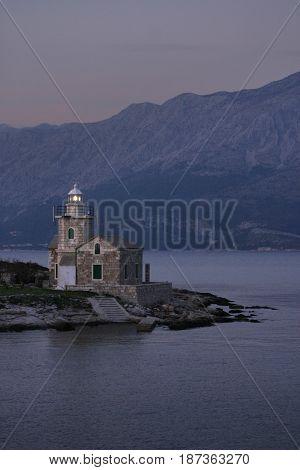 Stone lighthouse near Sucuraj on the east side of island Hvar