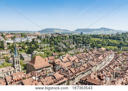 Beautiful old town Bern city capital of Switzerland selective focus
