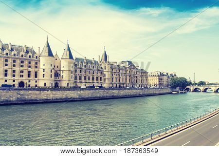Castle Conciergerie a former royal palace and prison Paris France vintage effect