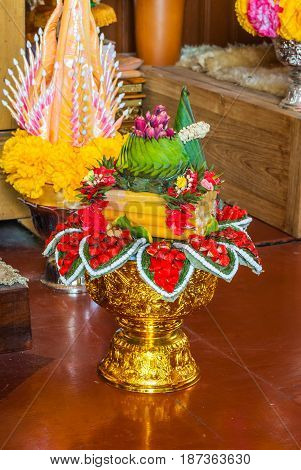 Closeup To Beautiful Thai Rice Offering In Buddhism And Hinduism Belief