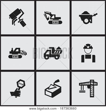 Set Of 9 Editable Structure Icons. Includes Symbols Such As Scrub, Endurance, Camion And More. Can Be Used For Web, Mobile, UI And Infographic Design.