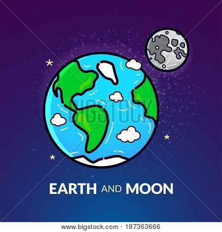Planet Earth with the Moon, vector illustration in linear style