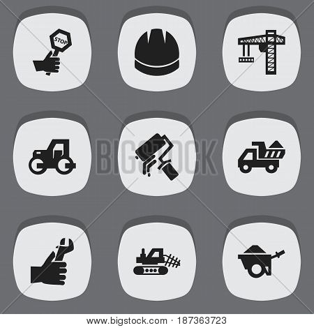 Set Of 9 Editable Construction Icons. Includes Symbols Such As Endurance, Lifting Equipment, Hardhat And More. Can Be Used For Web, Mobile, UI And Infographic Design.