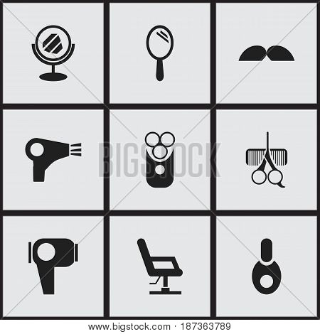 Set Of 9 Editable Hairdresser Icons. Includes Symbols Such As Desiccator, Elbow Chair, Vial And More. Can Be Used For Web, Mobile, UI And Infographic Design.