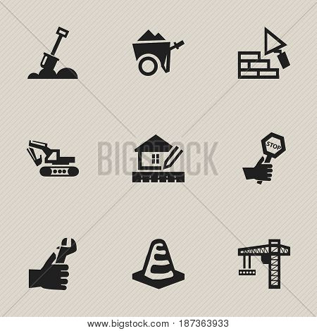 Set Of 9 Editable Construction Icons. Includes Symbols Such As Home Scheduling, Oar, Facing And More. Can Be Used For Web, Mobile, UI And Infographic Design.