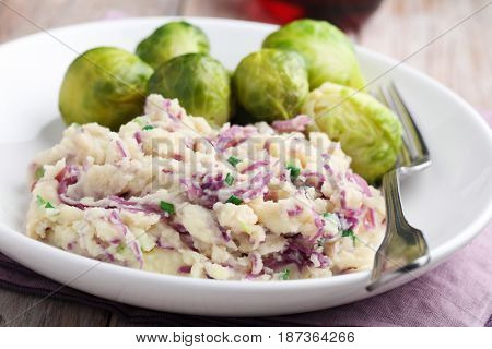 Traditional Dutch dish Stamppot with mashed potato, red cabbage, green onion and Brussels sprout