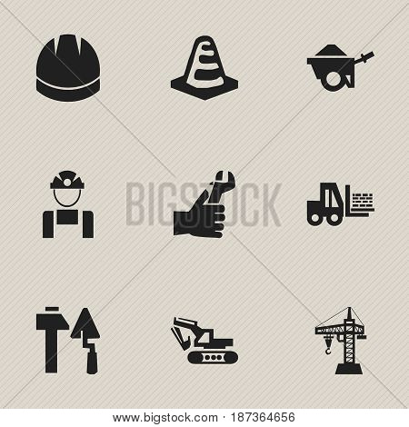Set Of 9 Editable Building Icons. Includes Symbols Such As Elevator, Notice Object, Truck And More. Can Be Used For Web, Mobile, UI And Infographic Design.