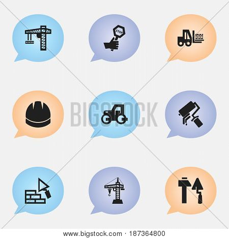 Set Of 9 Editable Construction Icons. Includes Symbols Such As Scrub, Caterpillar, Facing And More. Can Be Used For Web, Mobile, UI And Infographic Design.