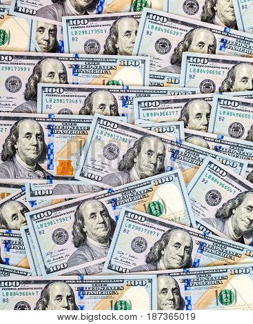 One hundred american dollars bills as money background