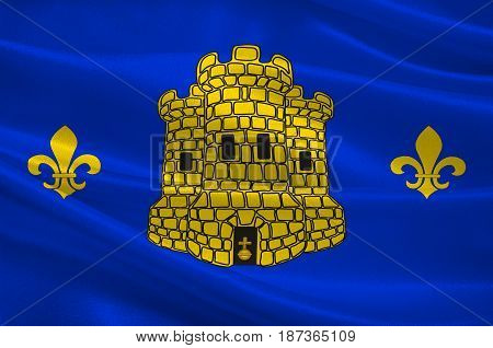 Flag of Lens is a commune in the Pas-de-Calais department in northern France. 3d illustration