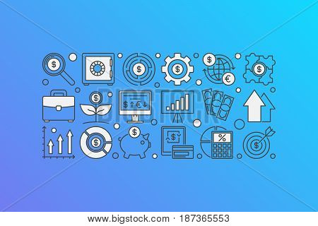 Investment concept banner. Vector finance and money illustration made with thin line icons on blue background