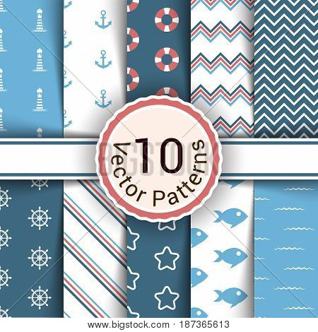 eamless pattern for your work. Sea, fish, lighthouse, water, life preserver wheel pattern
