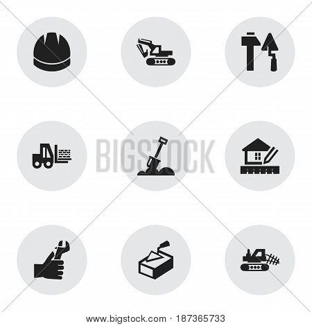 Set Of 9 Editable Construction Icons. Includes Symbols Such As Construction Tools, Mule, Home Scheduling And More. Can Be Used For Web, Mobile, UI And Infographic Design.