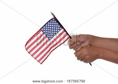 child holding an american flag white background