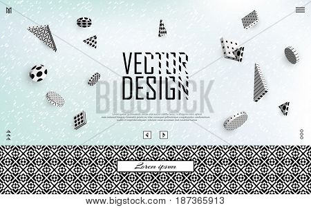 3d vector background. Flying isometric black and white figures on a blurred pastel background with a border of contrasting texture. Modern minimalistic template for design. EPS 10