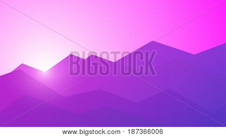 Vector polygonal mountains illustration. Colorful low poly mountain landscape with sunrise background