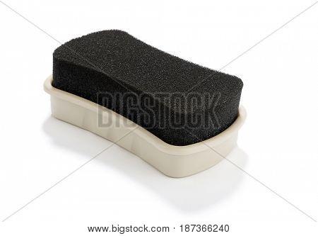 Sponge shoe polish isolated on white background.